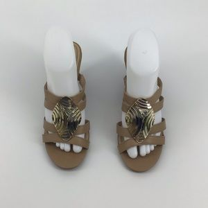 Impo Tan Gold strapping wedges size 8